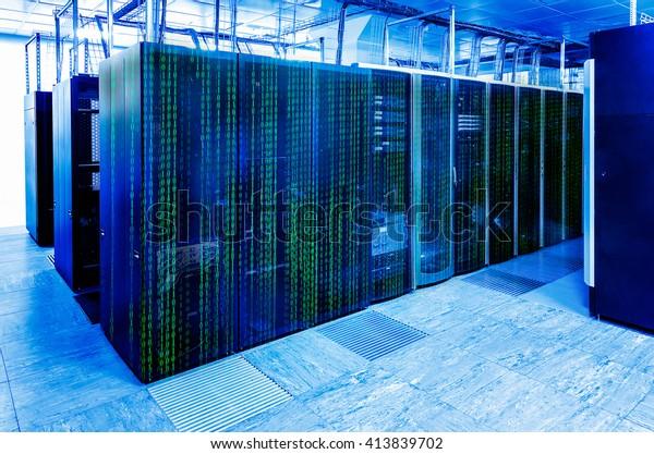 Binary Code Covers Portion Mainframe Data Stock Photo (Edit