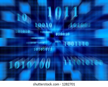 Binary code in a fast zoom of the movement.