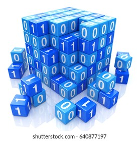 Binary code on digital blue cube, 3d image when creating a design to information related to programming. 3d illustration