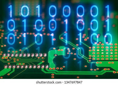 Binary code. Printed circuit board back side. Digital electronic background. Hardware component. Abstract green texture of PCB detail. Blue 0 and 1 digits. Electrotechnics, industry, tech engineering.