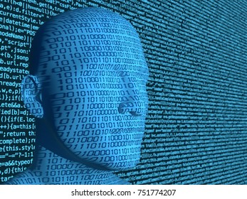 Binary code projected on a blue head in front of a computercode background artificial intelligence concept 3D illustration