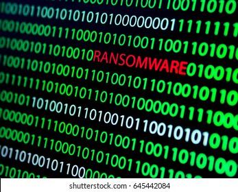 Binary Code Screen, Ransomware Virus