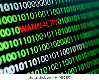 Binary Code Screen, Wannacry Virus