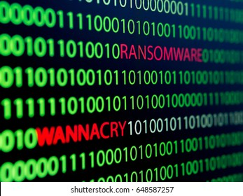 Binary Code Screen, Wannacry Virus, Ransomware