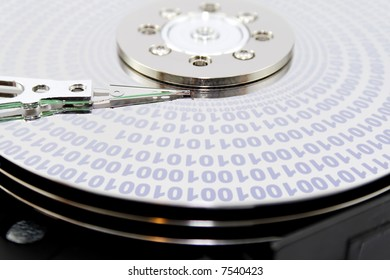 Binary data on a hard disk