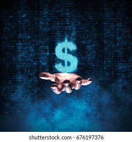 Binary dollar hand / 3D illustration of glowing dollar symbol formed by binary digits floating above open hand