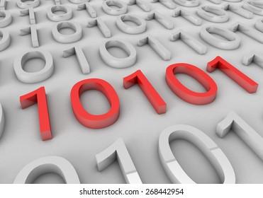 Binary numbers 3D.