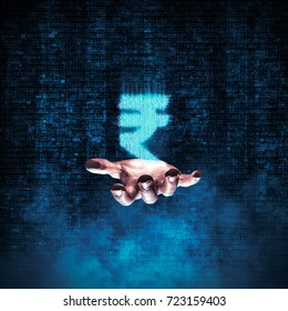 Binary rupee hand / 3D illustration of glowing rupee symbol formed by binary digits floating above open hand