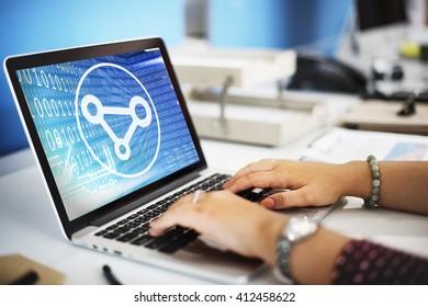 Binary Share File Media Blue Icon Concept