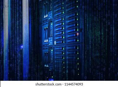 Binary stream, flow of information. Concept of blade server, storage, big data. modern mainframe disk storage with binary code over in data center