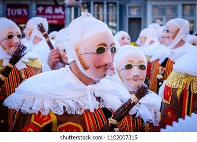 Binche, Belgium - February 13, 2018: Participants (Gilles de Binche) in the Carnival of the city of Binche in Hainaut, Belgium. The Carnival is part of the Unesco World Heritage.
