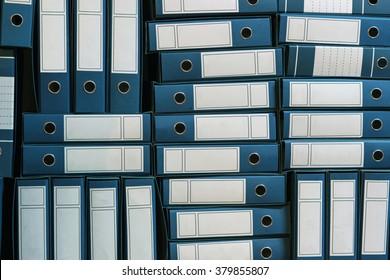 Binders Archive, Ring Binders, Bureaucracy. Pile Of File Binders. Office folders. Stack of documents in binders. File archive.