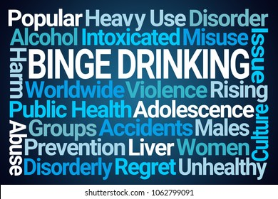 Binge Drinking Word Cloud on Blue Background