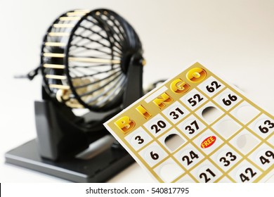 A bingo cage, balls with numbers, card and markers.