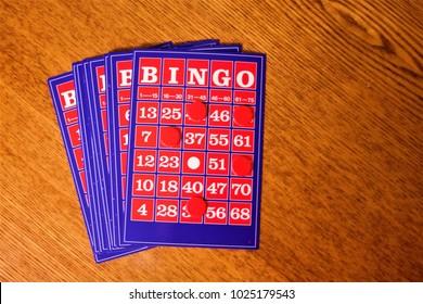 Bingo card on wooden table