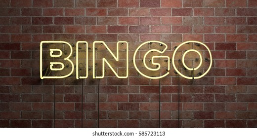 BINGO - fluorescent Neon tube Sign on brickwork - Front view - 3D rendered royalty free stock picture. Can be used for online banner ads and direct mailers.