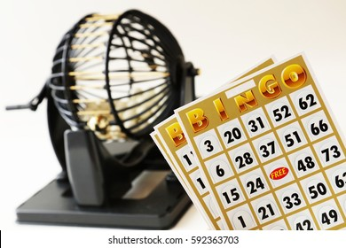 Bingo Game Cage on White Background
