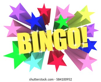 Bingo golden word among bright multicolored stars. 3d render