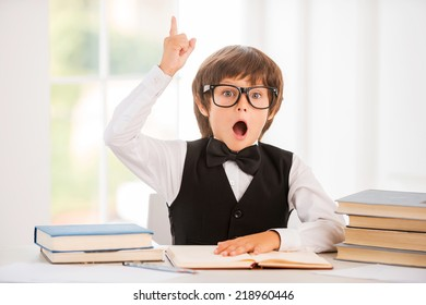 Bingo! Happy little boy holding book and gesturing while sitting at the table
