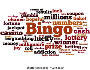 Bingo, word cloud concept on white background.