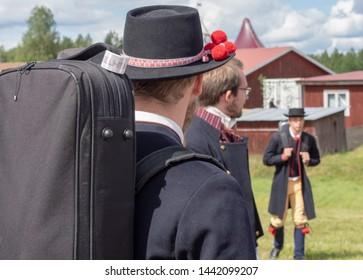 BINGSJO, SWEDEN - JULY 4: Unidentified people in music festival at Bingsjostamman on July 4, 2019 in Bingsjo Sweden