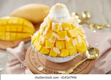 bingsu mango ice cream Korean dessert