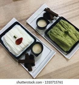 Bingsu milk & Bingsu green tea