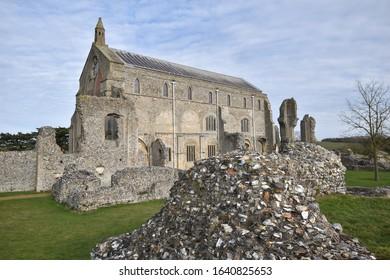 Binham Priory: the ruins of a Benedictine priory in Norfolk, England, UK