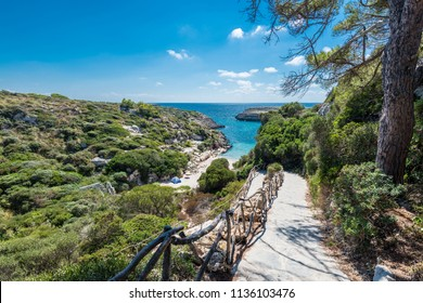 Binidali creek in Minorca, Balearic Islands, Spain.