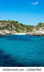 Binidali creek in Minorca, Balearic Islands, Spain.