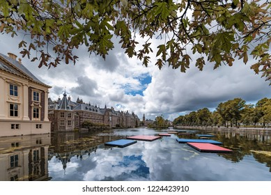 Binnenhof, Dutch parliament building and The Hague city reflected on the pond with a swan swimming on, Netherlands