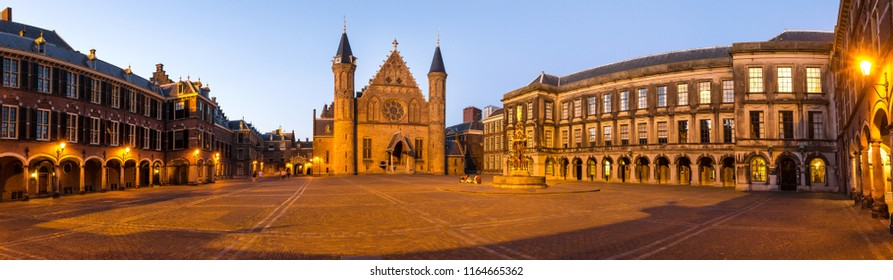 Binnenhof the hague netherlands in the evening high definition panorama