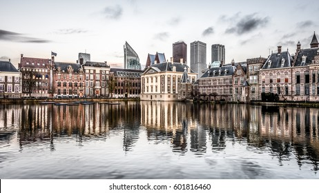 Binnenhof Palace in The Hague (Den Haag) along the Hohvijfer canal, The Netherlands - Dutch Parliament buildings.