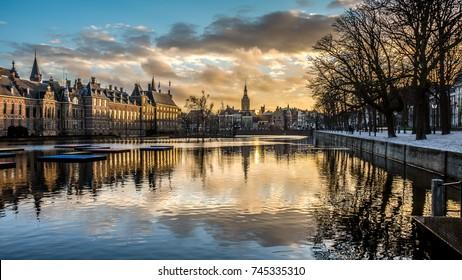 Binnenhof Palace in The Hague (Den Haag) along the Hohvijfer canal, The Netherlands - Dutch Parliament buildings.