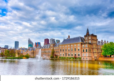 Binnenhof Palace of Parliament inThe Hague in The Netherlands At Daytime. Against Modern Skyscrapers on Background. Horizontal Shot