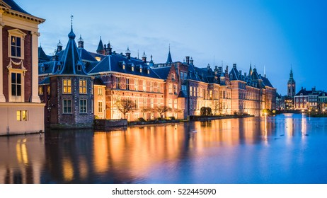 Binnenhof palace, place of Parliament inThe Hague, of Netherlands at dusk