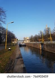 binnenvaart, translation Inland shipping in the locker Nijmegen Waal Maas river, Nijmegen Netherlands November 2017