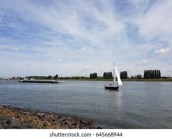 Binnenvaart, translation Inlandshipping on the river in the Netherlands Dordrecht