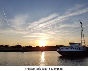 Binnenvaart, translation Inlandshipping on the river water sailing Netherlands Dordrecht June 2017