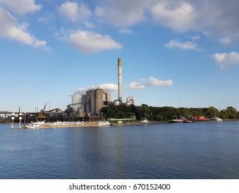 Binnenvaart, Translation Inlandshipping on the river at the Harbor of Nijmegen Netherlands June 2017