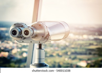 binocular on the top of building
