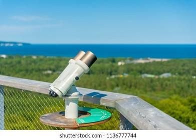 Binocular on the tree-top walk near Prora on the island of Rügen at the Baltic Sea