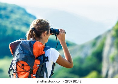 Binocular, traveler, hiking.