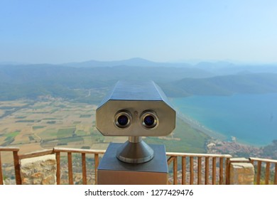 Binocular view on Azmak Stream in Akyaka Village. Akyaka is popular tourist destination in Turkey. Marmaris/Mugla Turkey