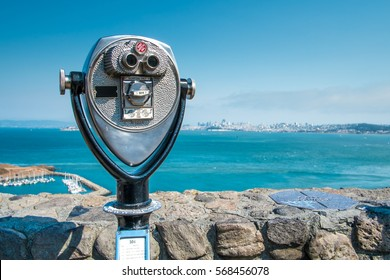 Binocular viewer of San Francisco bay, California, USA