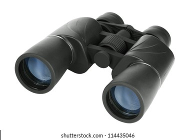 Binoculars in black plastic on a white background