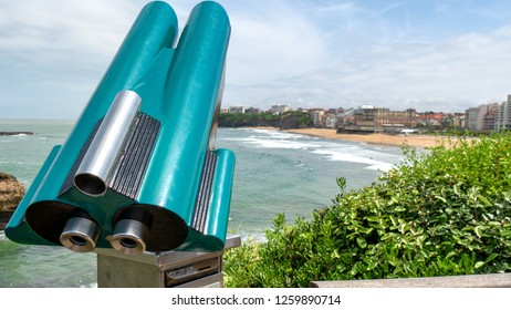 Binoculars, coin-operated, a view of Biarritz beach, France