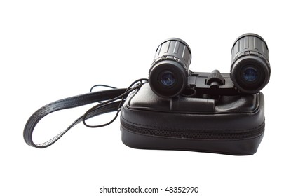 Binoculars with a handbag isolated on a white background.