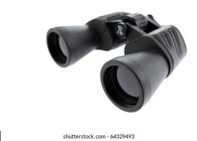 Binoculars isolated on white background. Shallow depth of field. Studio work.