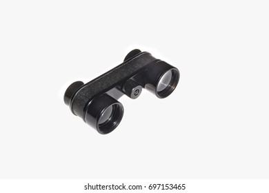 Binoculars isolated on the white background. Sideways view